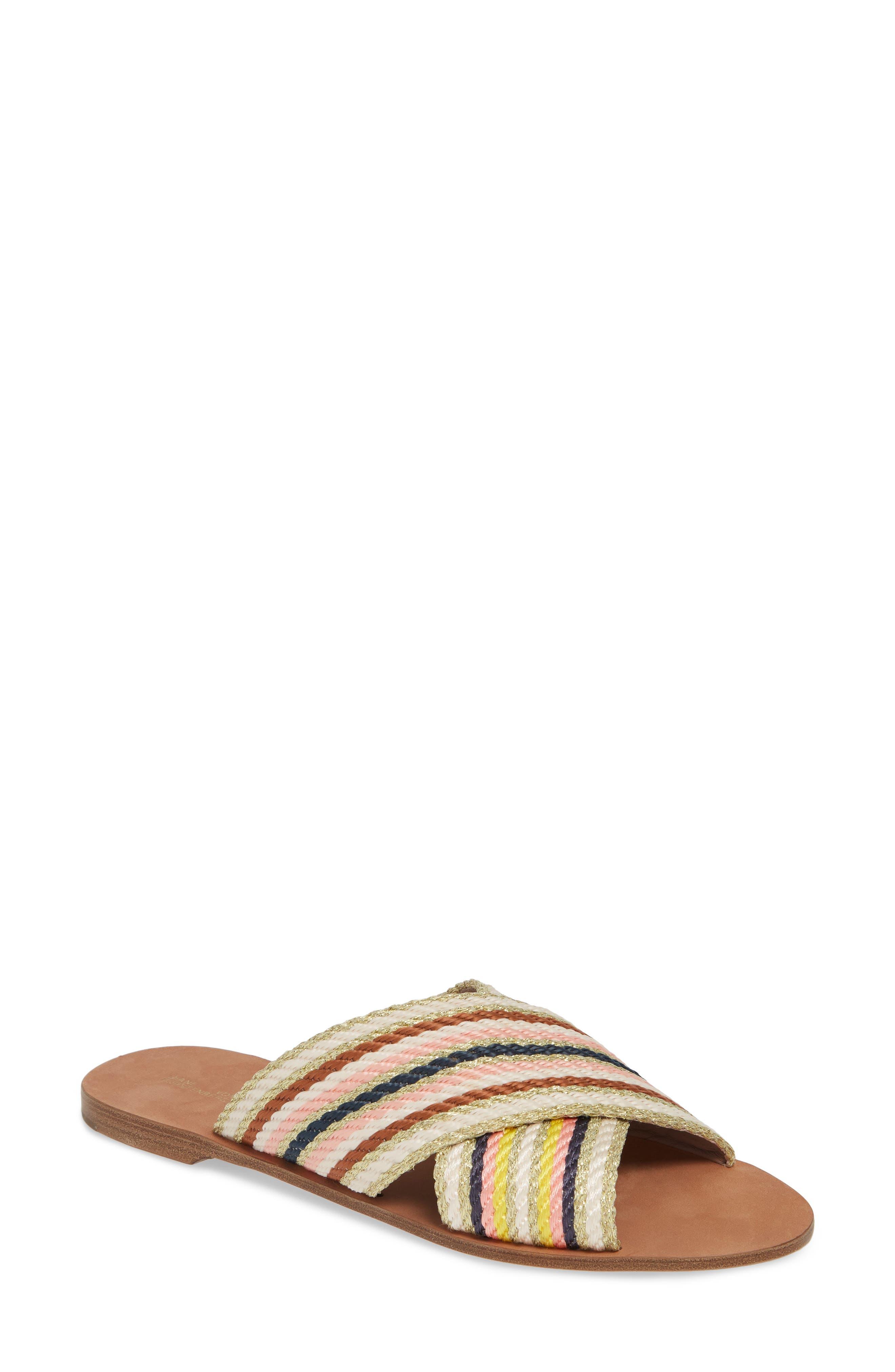 Diane Von Furstenberg Cindi Woven Slide Sandal, Ivory