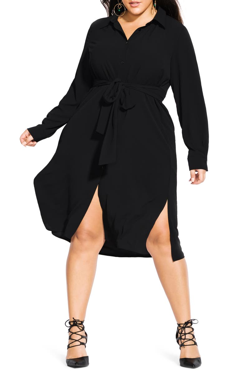 CITY CHIC Simple Twist Long Sleeve Shirtdress, Main, color, BLACK