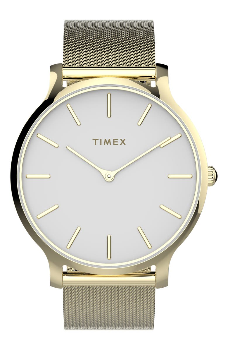 TIMEX<SUP>®</SUP> Transcend Mesh Strap Watch, 38mm, Main, color, GOLD/ WHITE/ GOLD