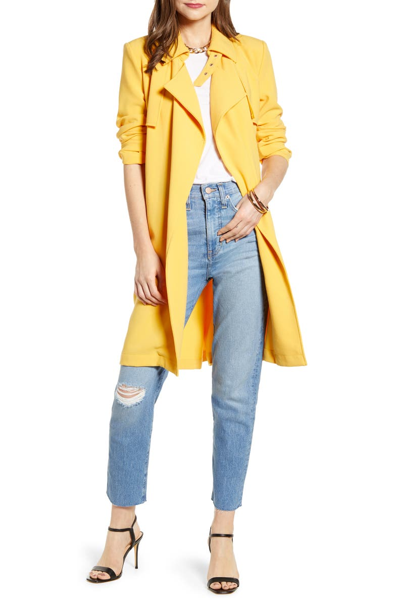 SOMETHING NAVY Drapey Trench Coat, Main, color, YELLOW AMBER