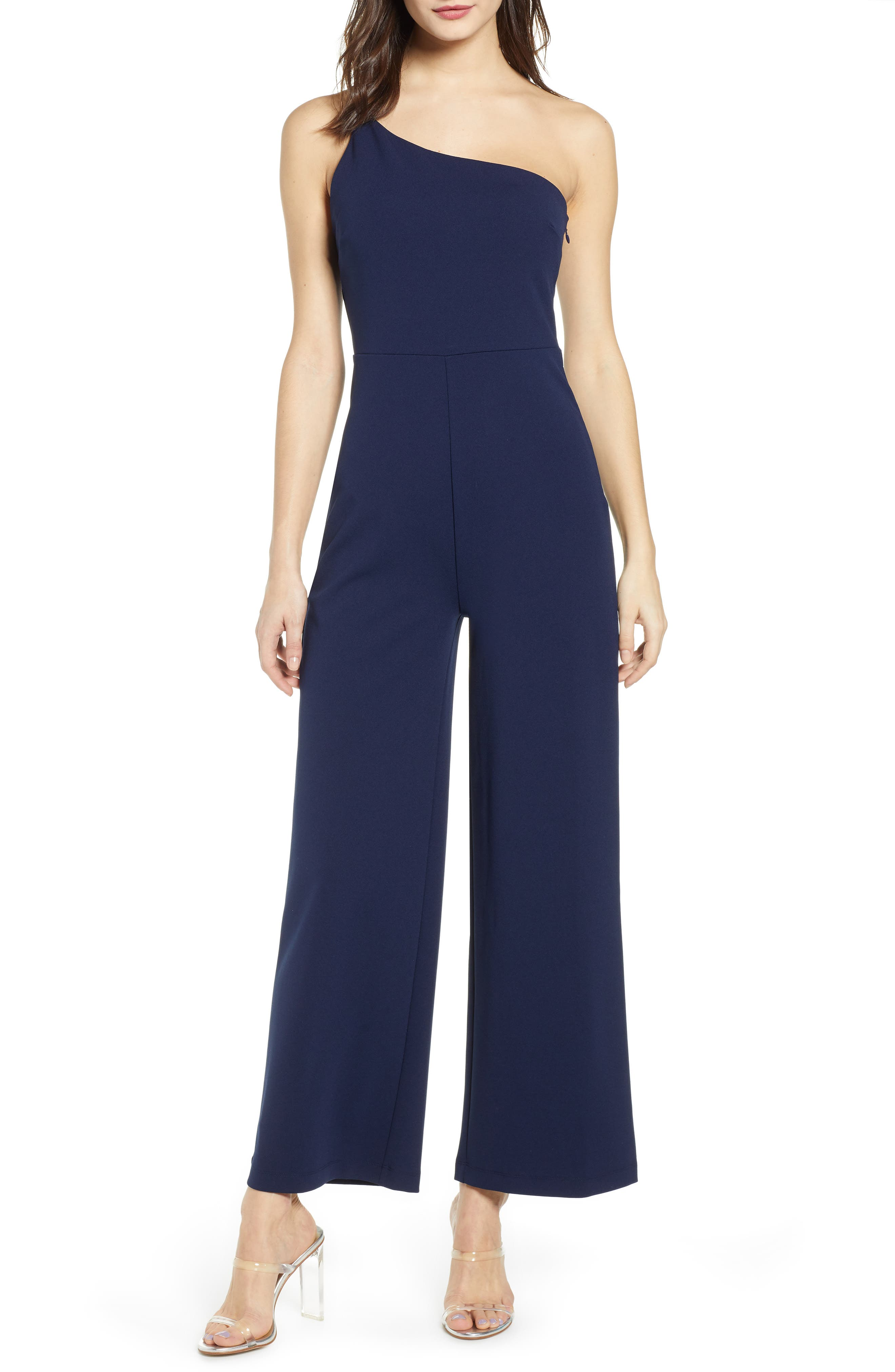 Leith One-Shoulder Jumpsuit, Blue