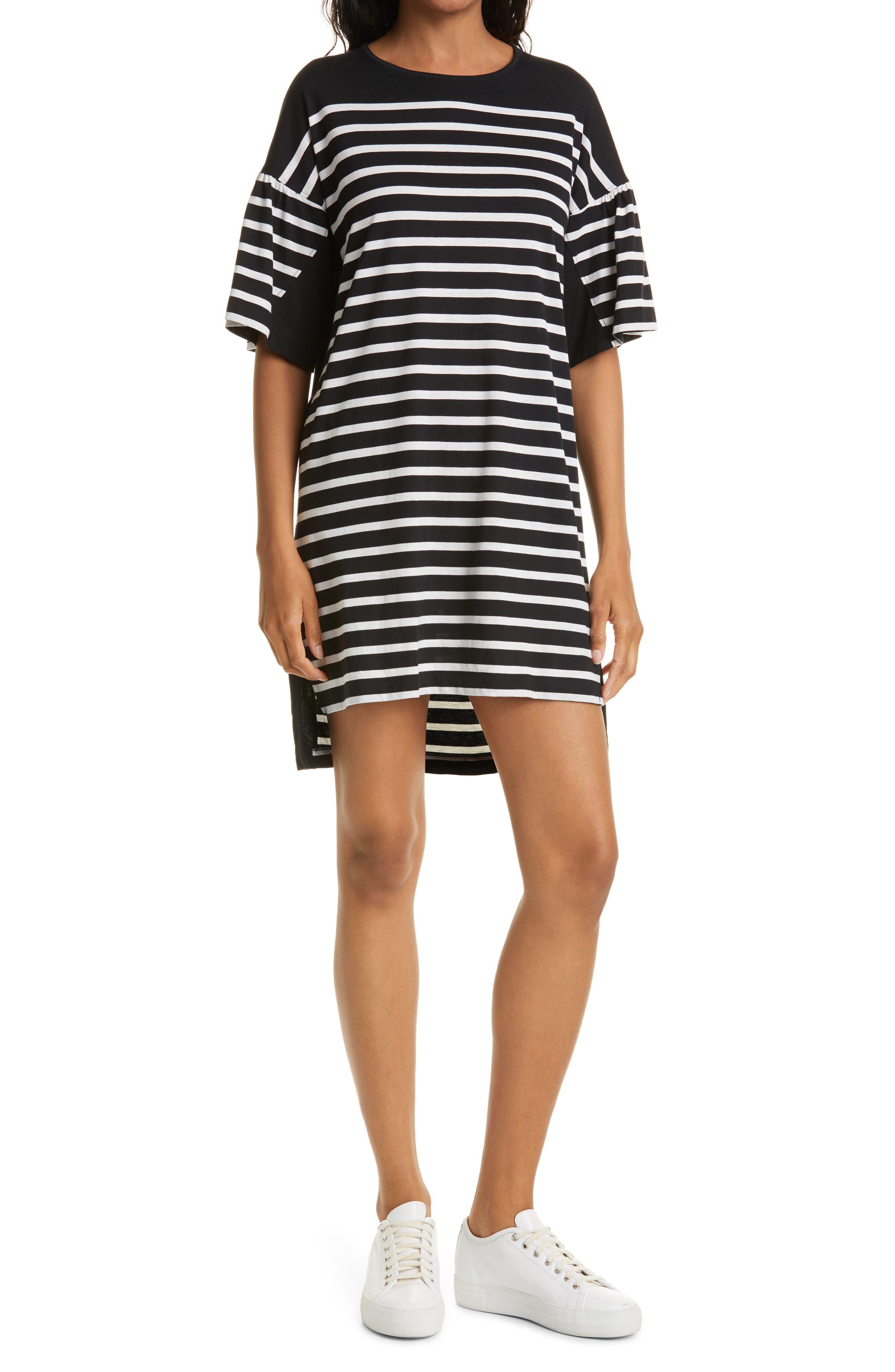 Stripe Drop Shoulder Puff Sleeve Cotton Knit Dress