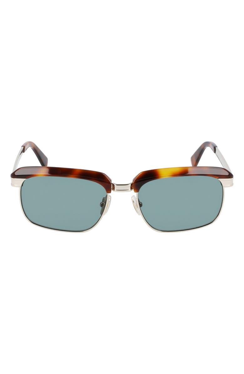 SALVATORE FERRAGAMO 55mm Rectangular Sunglasses, Main, color, TORTOISE/ GOLD/ FUMO