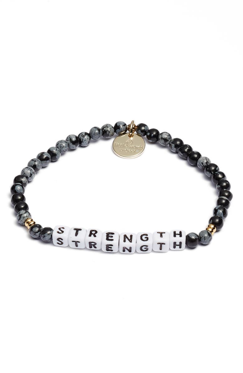 LITTLE WORDS PROJECT Strength Bracelet, Main, color, STONE SNOWFLAKE WHITE
