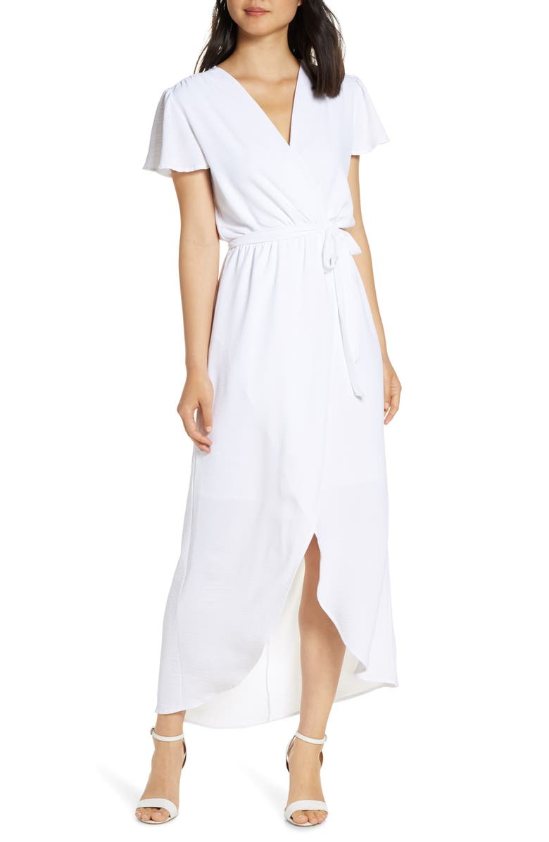 FRAICHE BY J High/Low Wrap Maxi Dress, Main, color, WHITE