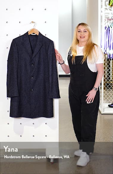 Darien Trim Fit Solid Wool Blend Overcoat, sales video thumbnail