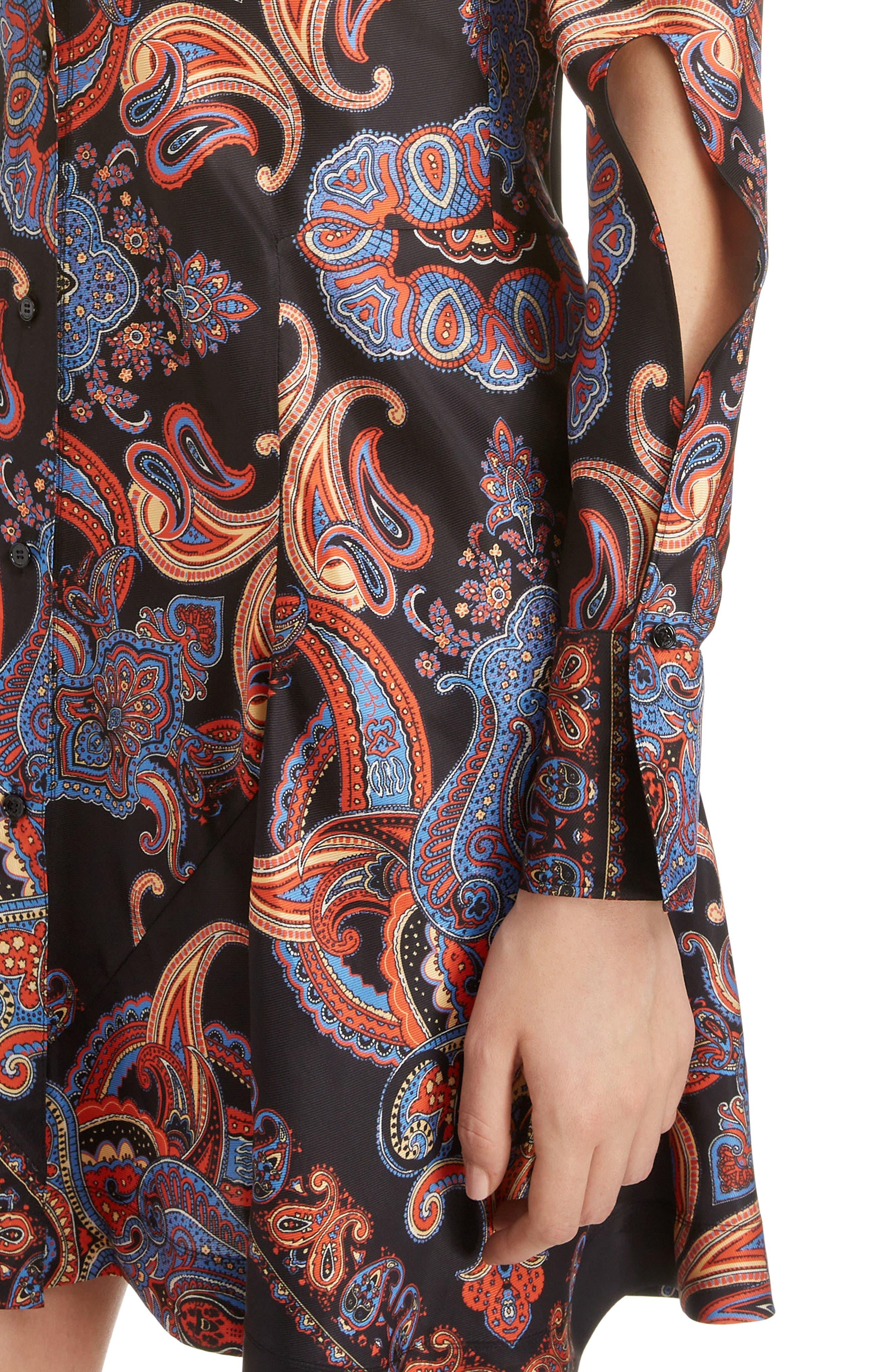 ,                             Persian Print Viscose Twill Minidress,                             Alternate thumbnail 4, color,                             BLACK