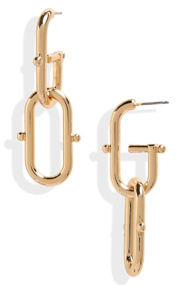 BP. Oval Link Linear Earrings, Main, color, 710