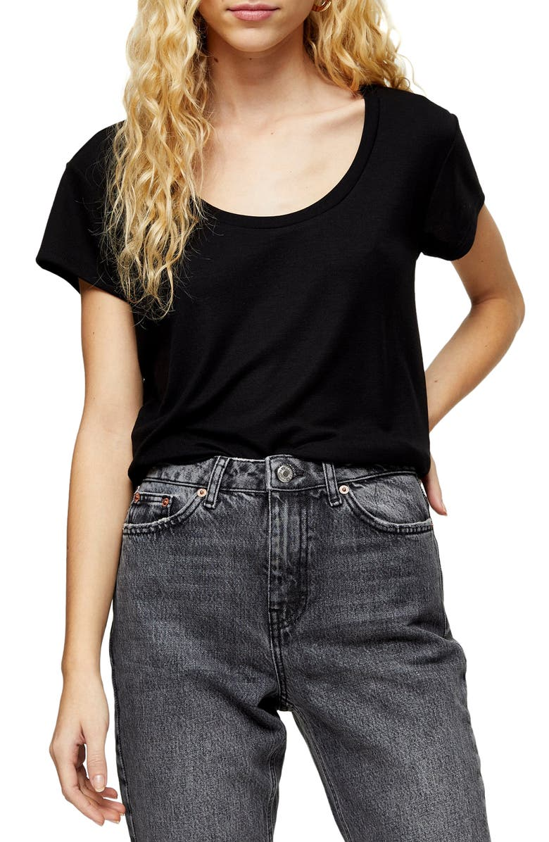 TOPSHOP Scoop Neck Tee, Main, color, NEW BLACK