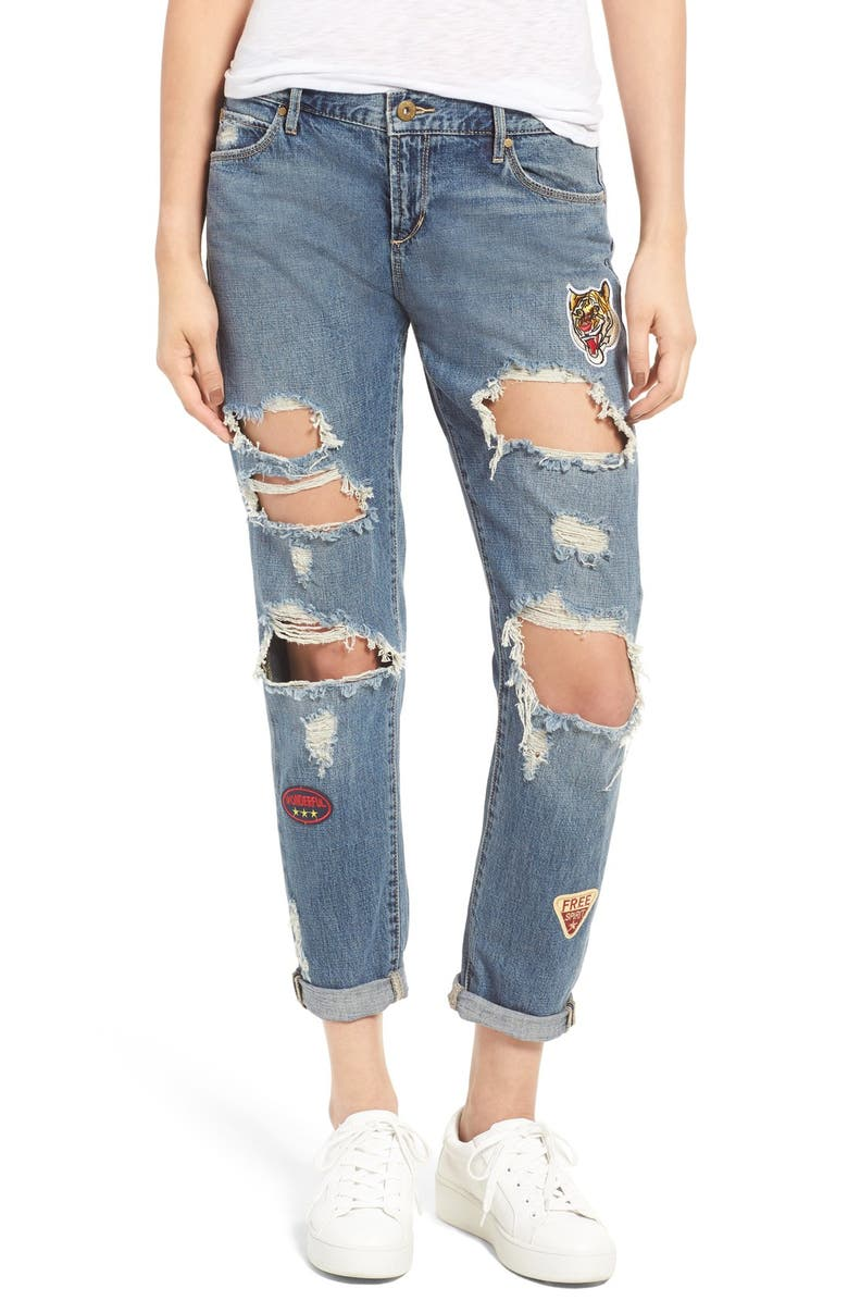 ARTICLES OF SOCIETY Janis Destroyed Boyfriend Jeans with Patches, Main, color, 400