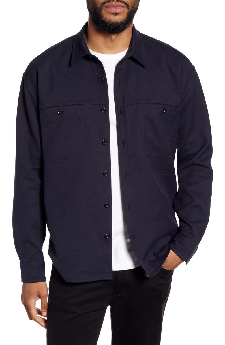VINCE Classic Fit Solid Twill Shirt Jacket, Main, color, COASTAL
