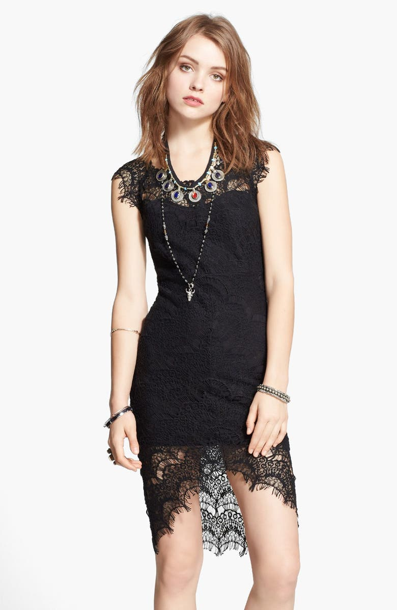 FREE PEOPLE Lace High/Low Sheath Dress, Main, color, 001