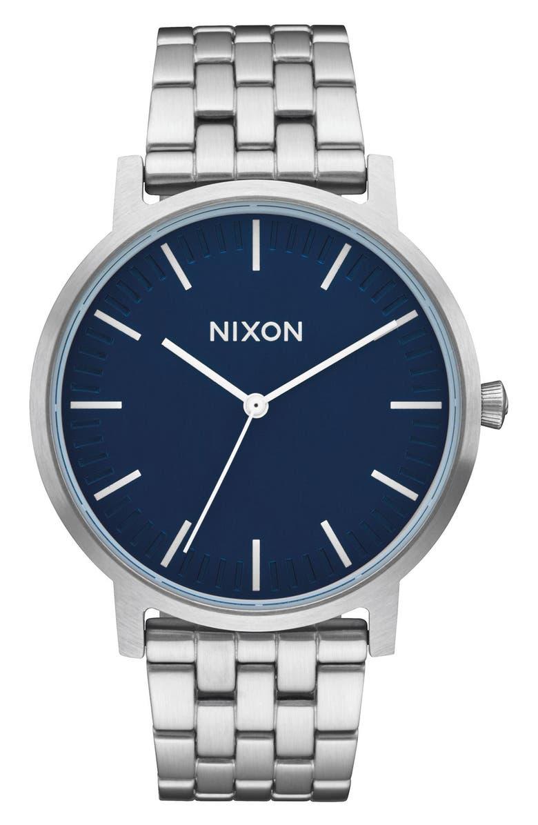 NIXON Porter Bracelet Watch, 40mm, Main, color, SILVER/ NAVY/ SILVER
