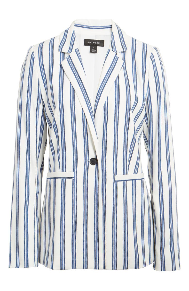 HALOGEN<SUP>®</SUP> Stripe Cinch Sleeve Blazer, Main, color, IVORY- BLUE STRIPE