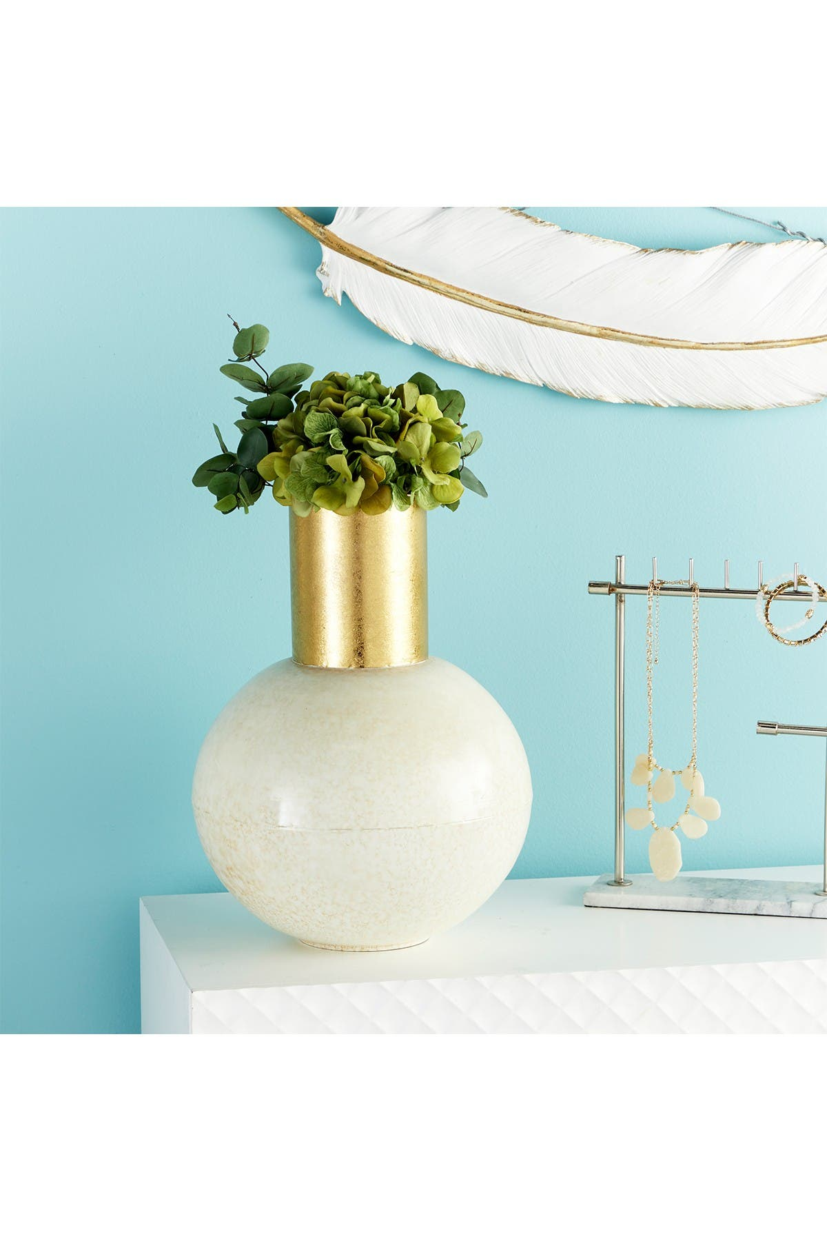 Image of CosmoLiving by Cosmopolitan Modern Style Extra Large Round Gold & White Metal Vase