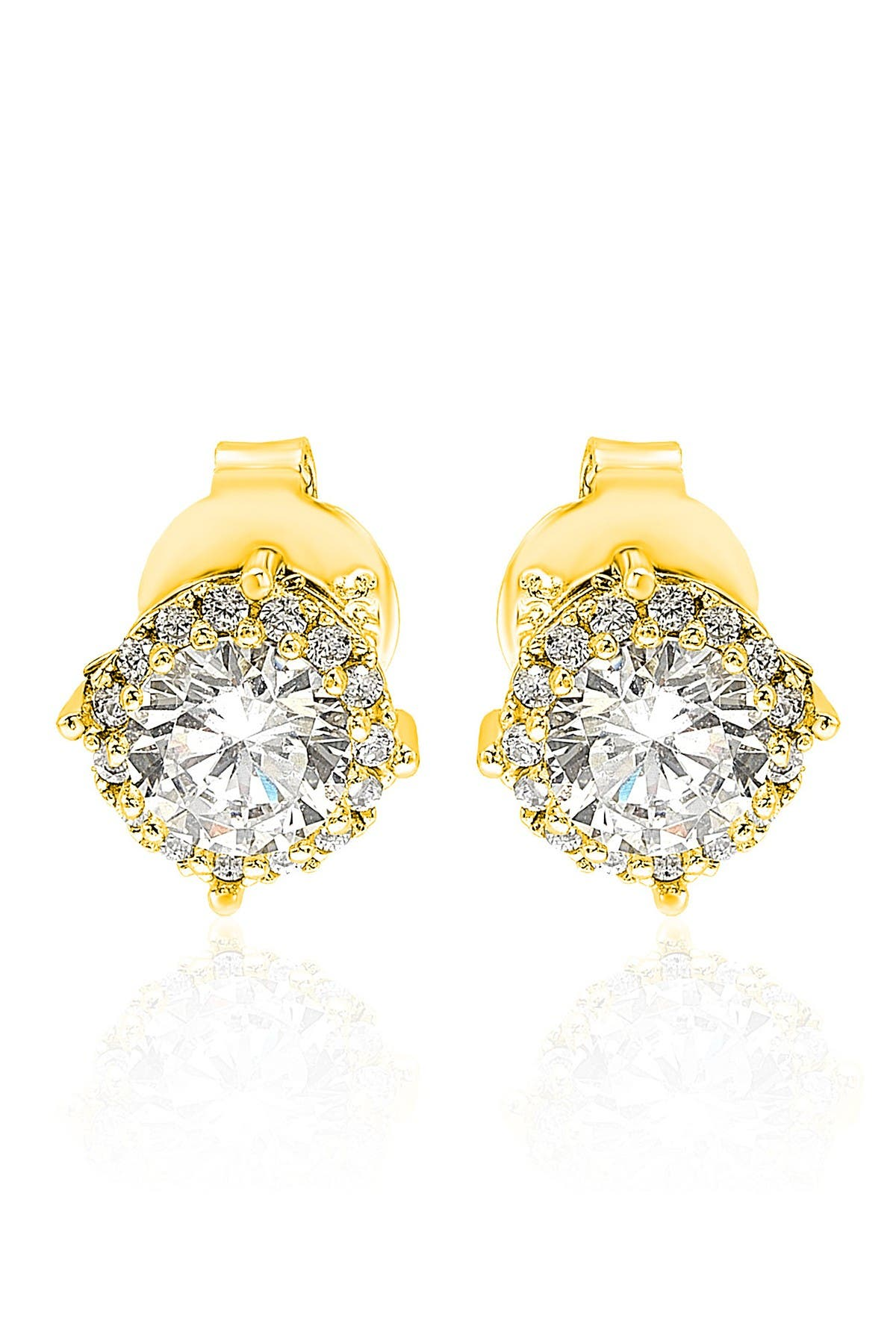 Image of Suzy Levian Gold Sterling Silver CZ Stud Earrings