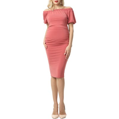 Kimi And Kai Becka Convertible Off The Shoulder Maternity Dress, Pink