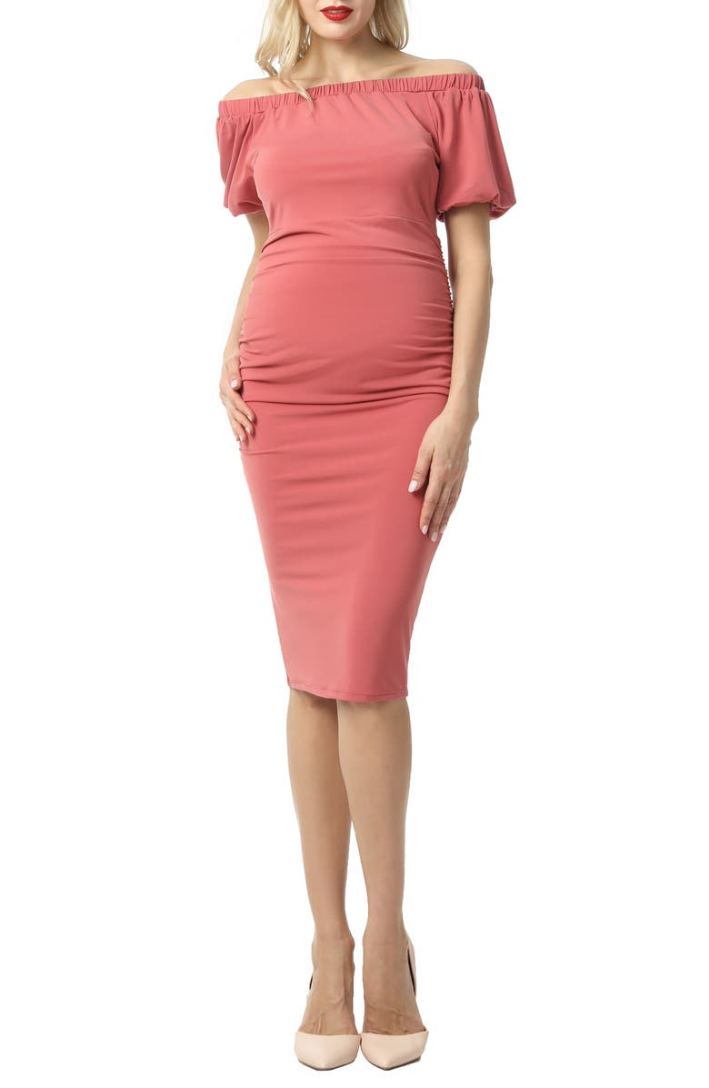 KIMI AND KAI Becka Convertible Off the Shoulder Maternity Dress, Main, color, ROSETTE