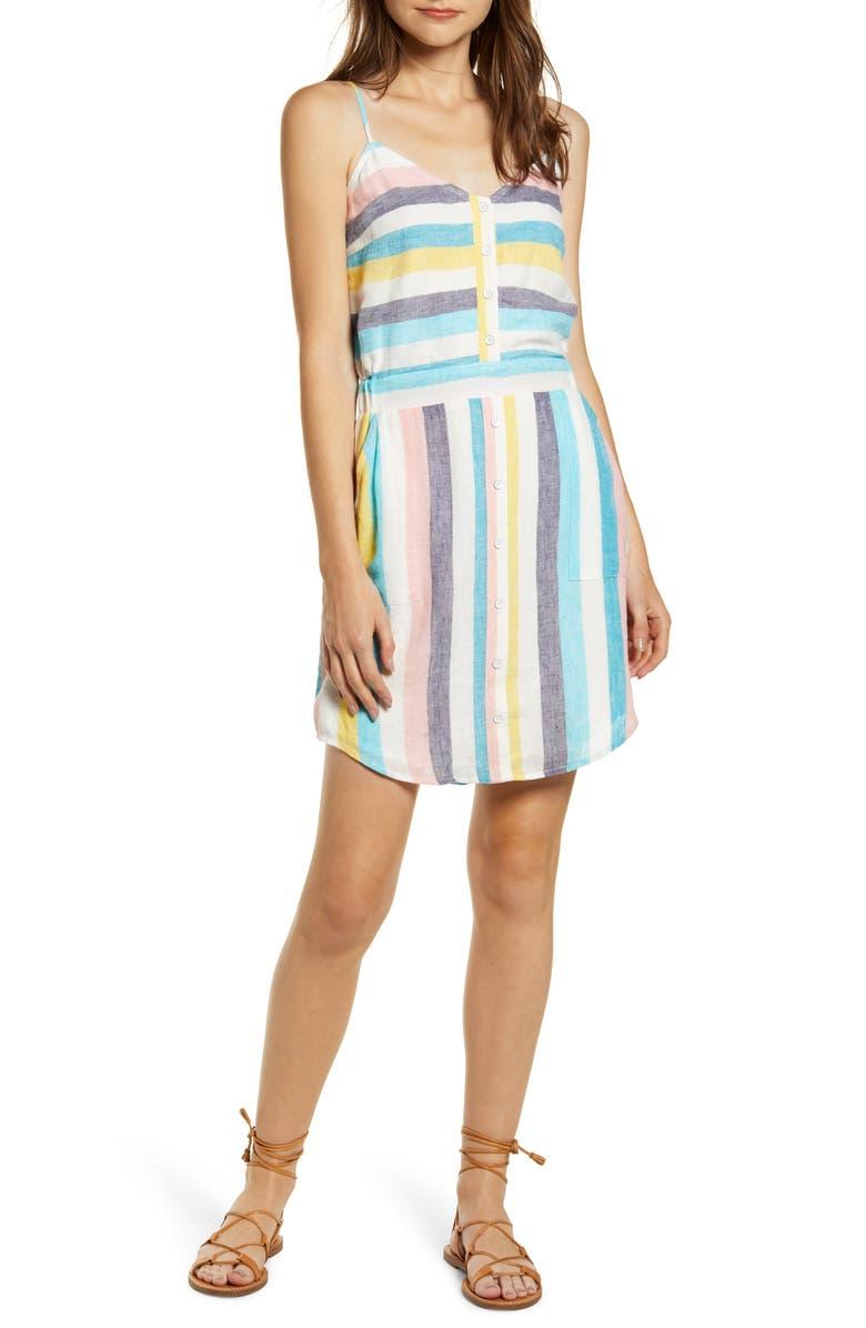SPLENDID St. Barths Stripe Linen Blend Sundress, Main, color, ST BARTHS STRIPE