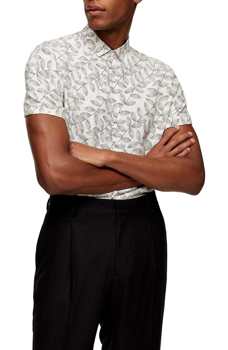 TOPMAN Slim Fit Leaf Print Short Sleeve Button-Up Shirt, Main, color, 100
