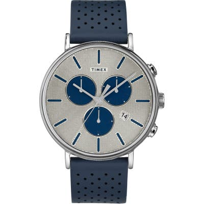 Timex Fairfield Chronograph Perforated Leather Strap Watch, 41Mm