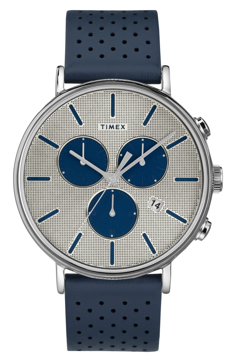TIMEX<SUP>®</SUP> Fairfield Chronograph Perforated Leather Strap Watch, 41mm, Main, color, NAVY/ SILVER
