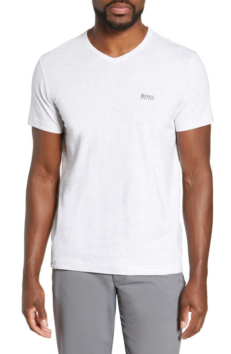 BOSS Teevn Regular Fit V-Neck T-Shirt, Main, color, GREY