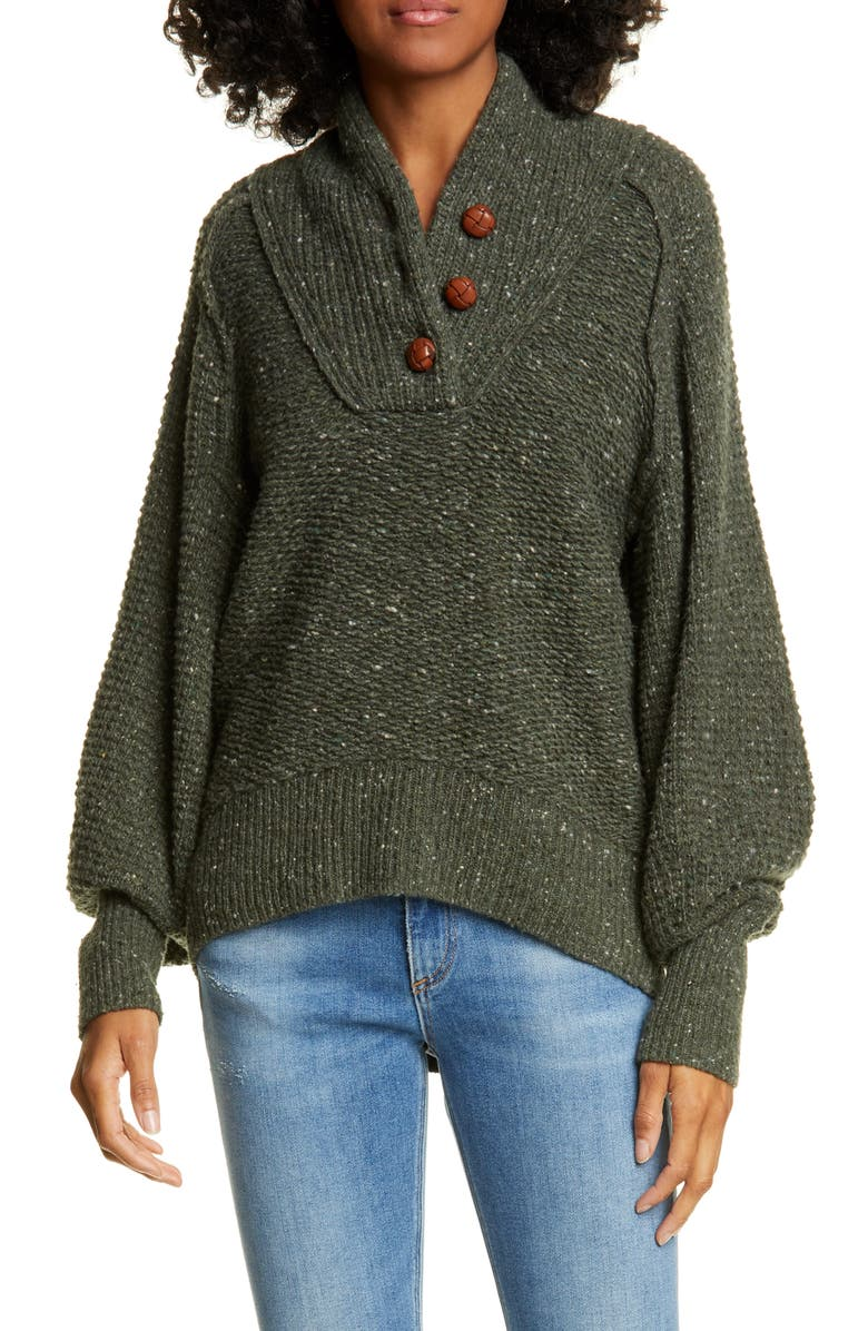 RAG & BONE Klark Shawl Collar Wool Blend Henley Sweater, Main, color, 319