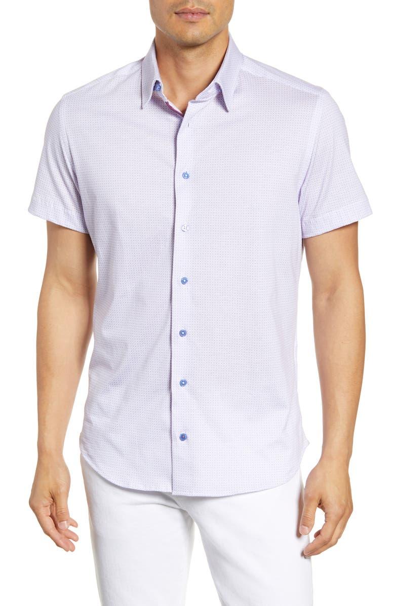 STONE ROSE Regular Fit Geo Print Short Sleeve Button-Up Shirt, Main, color, PURPLE