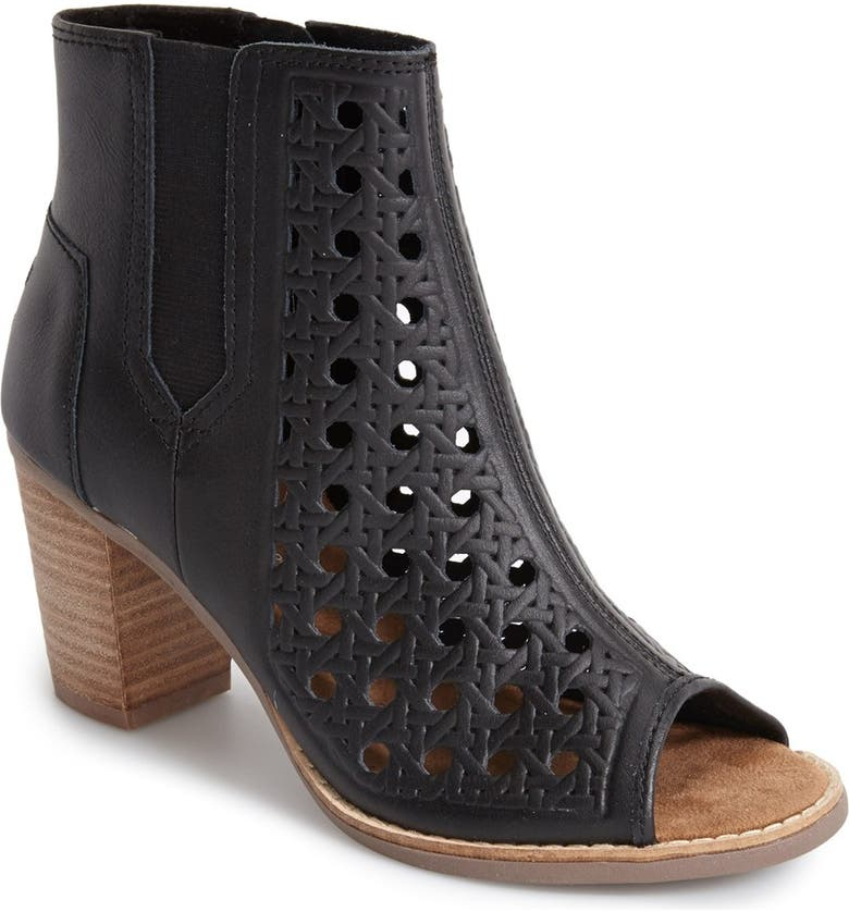 TOMS 'Majorca' Basket Weave Leather Peep Toe Bootie, Main, color, 001