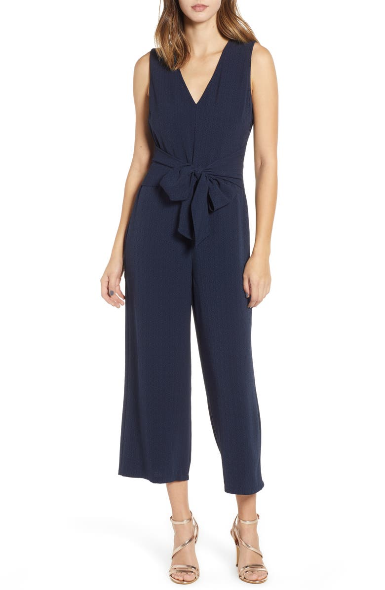 ASTR THE LABEL Tie Waist Crop Jumpsuit, Main, color, NAVY