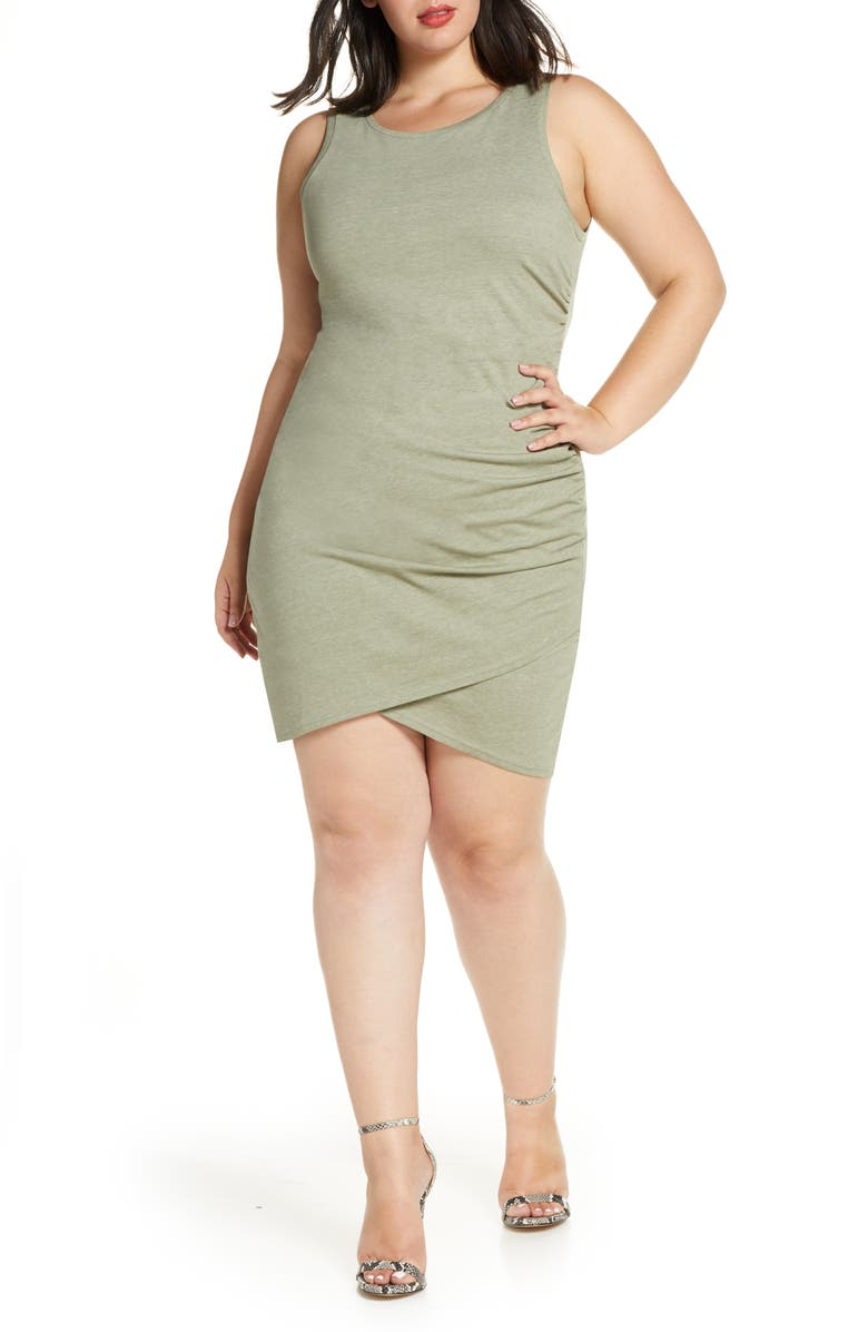 LEITH Ruched Sheath Dress, Main, color, GREEN VETIVER HEATHER