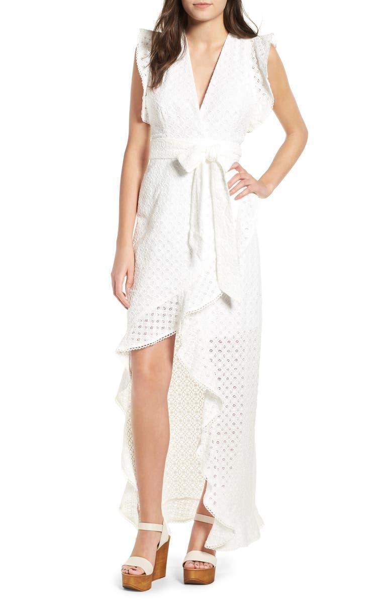 AFRM Andrea Ruffle Wrap Dress, Main, color, 101