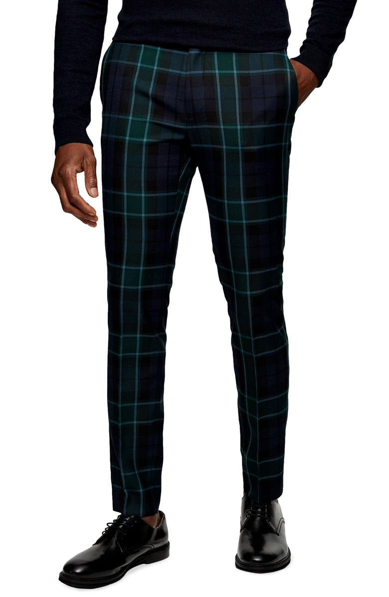 TOPMAN Aticus Check Skinny Fit Suit Trousers, Main, color, 411