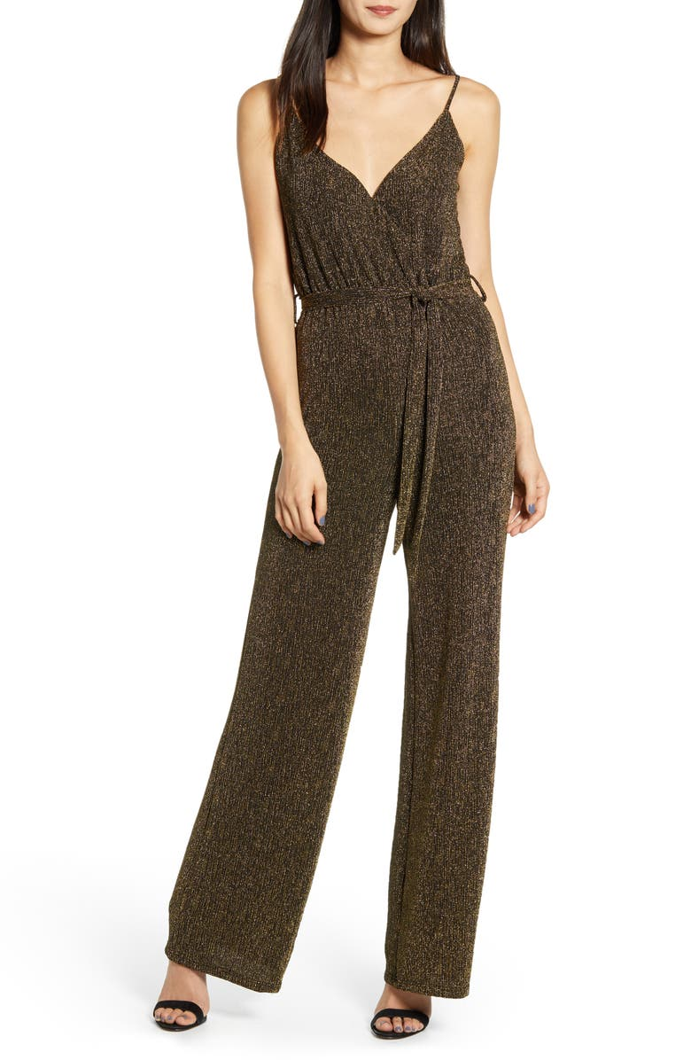 CUPCAKES AND CASHMERE Florence Metallic Jumpsuit, Main, color, BLACK