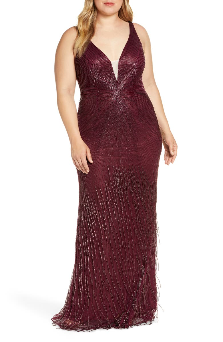 Bead Stripe and Fringe Column Gown