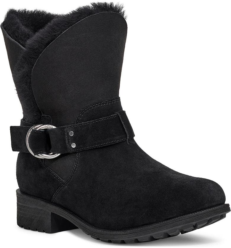 UGG<SUP>®</SUP> Bodie Moto Boot, Main, color, BLACK SUEDE