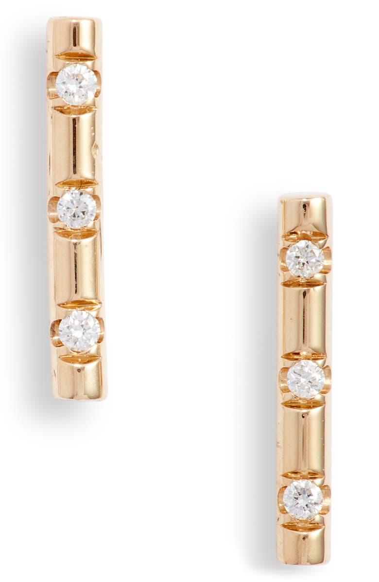 ZOË CHICCO Diamond Bar Stud Earrings, Main, color, YELLOW GOLD/ DIAMOND