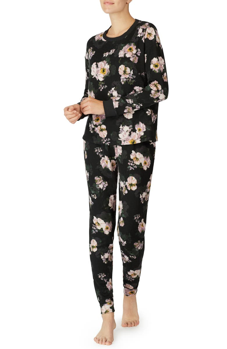 ROOM SERVICE Jersey Jogger Pajamas, Main, color, BLACK WATERCOLOR FLORAL