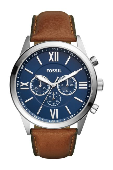 Image of Fossil Men's Flynn Chronograph Brown Leather Watch, 48mm