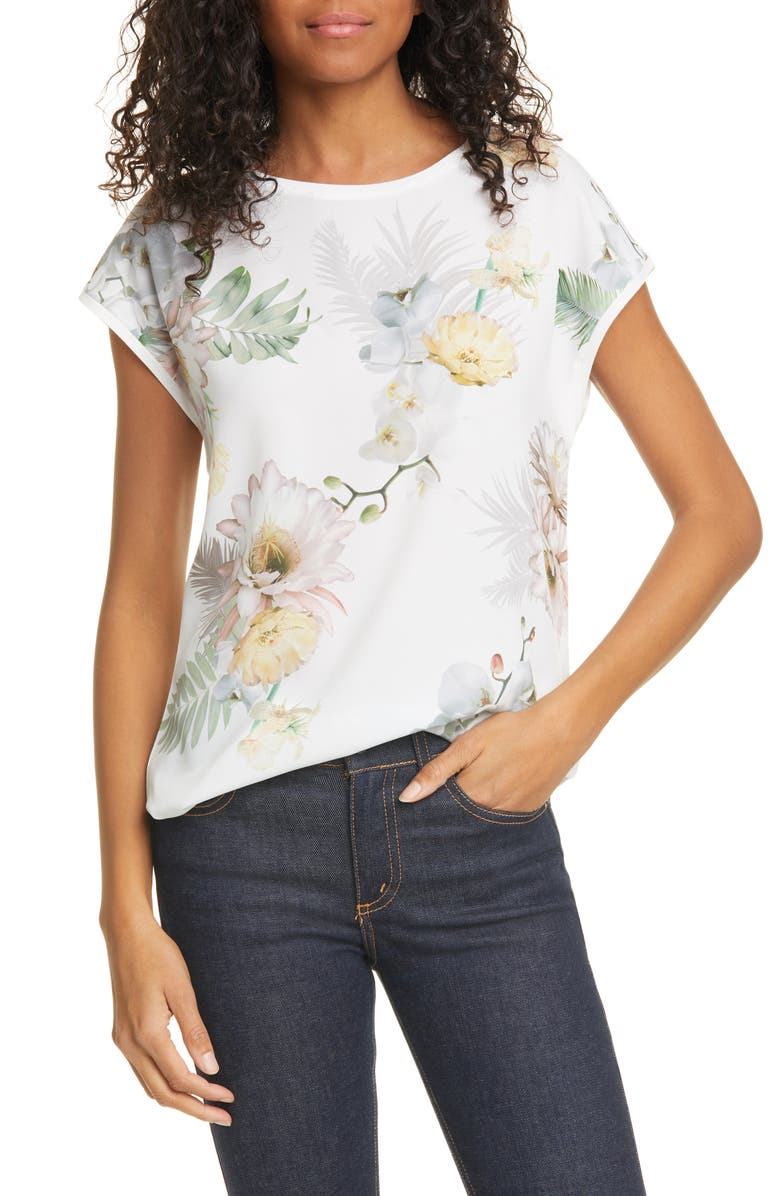 TED BAKER LONDON Kcarmaa Woodland Floral Woven Front Top, Main, color, 900
