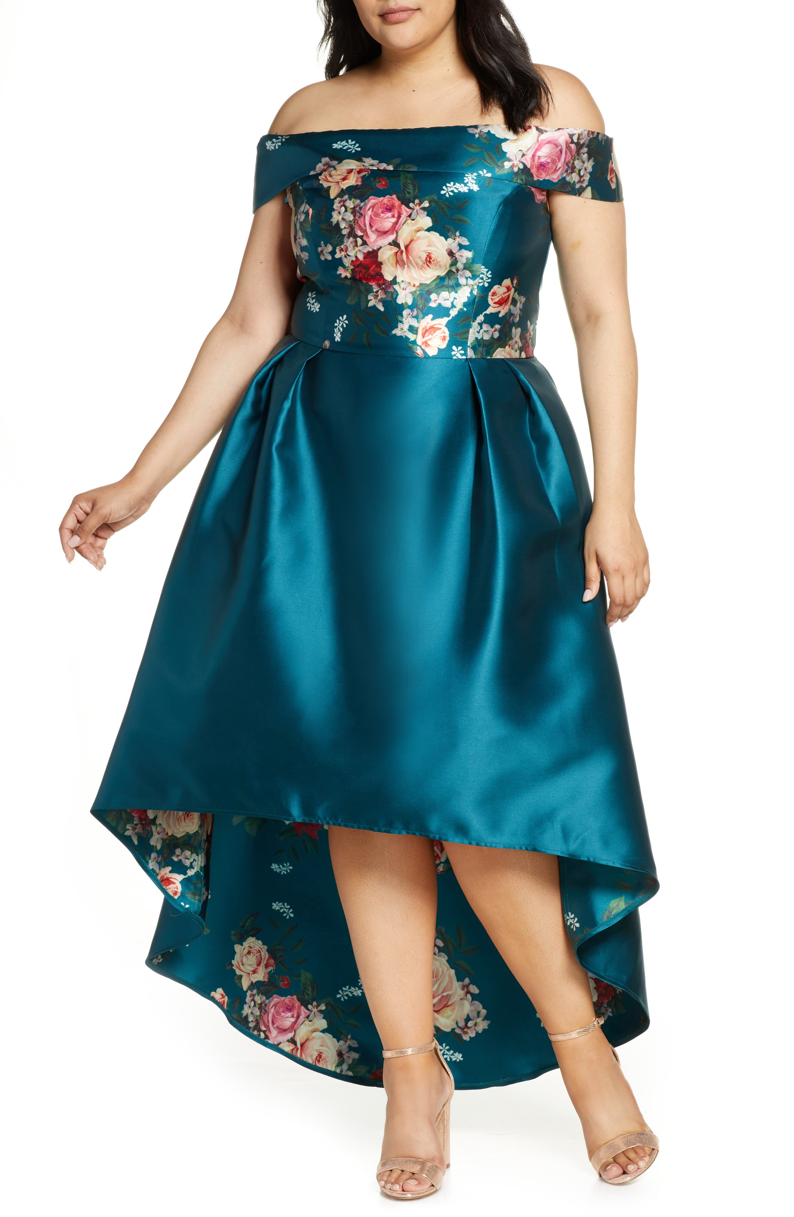 Plus Size Chi Chi London Curve Ghabie Off The Shoulder High/low Satin Cocktail Dress, Blue