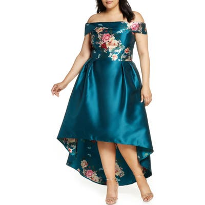 Plus Size Chi Chi London Curve Ghabie Off The Shoulder High/low Cocktail Dress, Blue