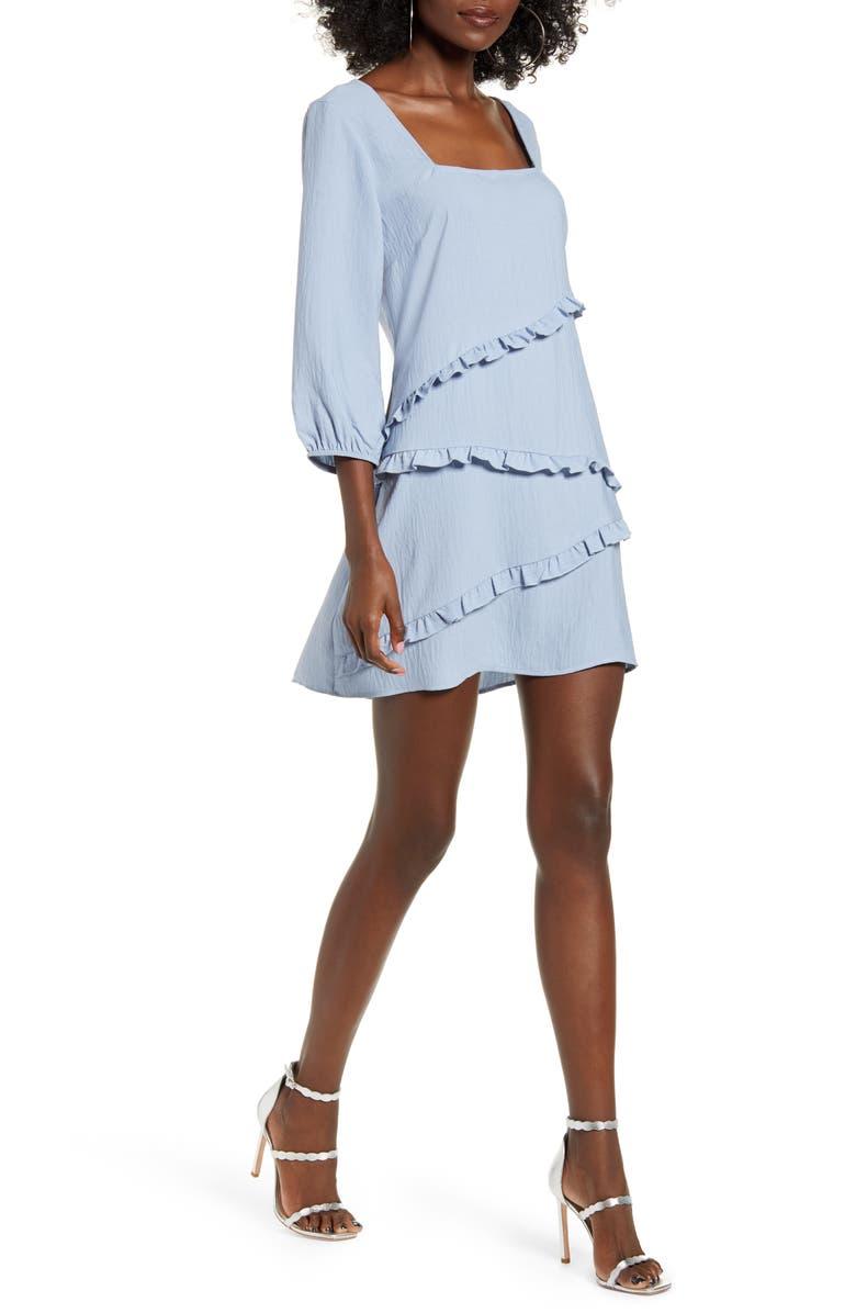 SPEECHLESS Ruffle Square Neck Minidress, Main, color, CHAMBRAY