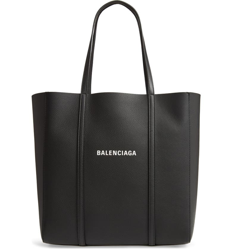 BALENCIAGA Small Everyday Logo Calfskin Tote, Main, color, BLACK/ WHITE
