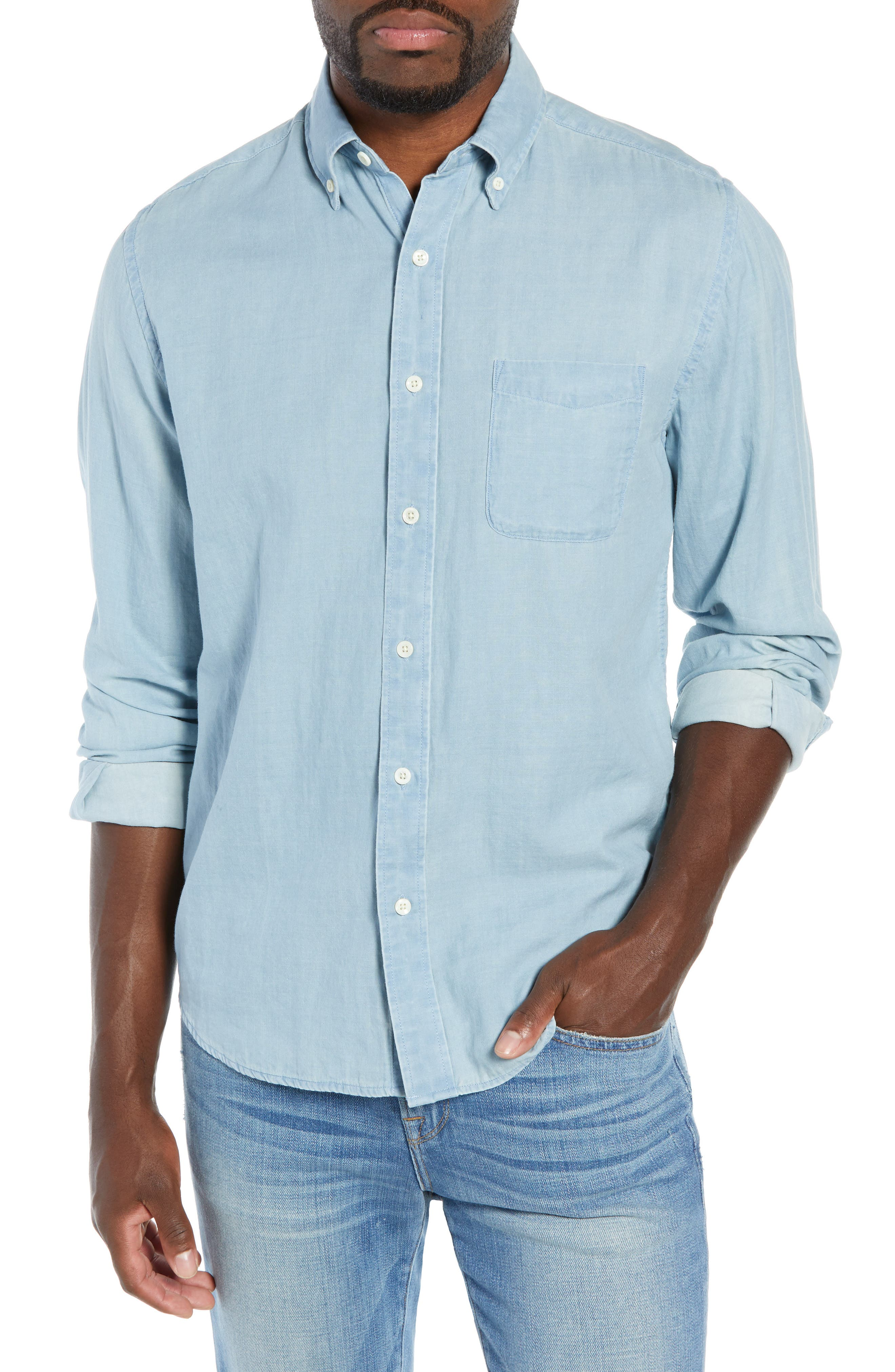 Faherty Regular Fit Pacific Doublecloth Sport Shirt