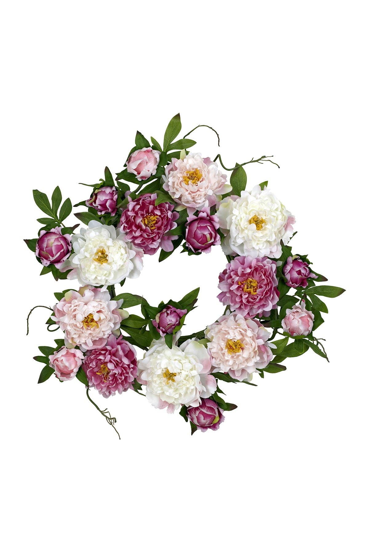 "Nearly Natural 22"" PEONY WREATH"