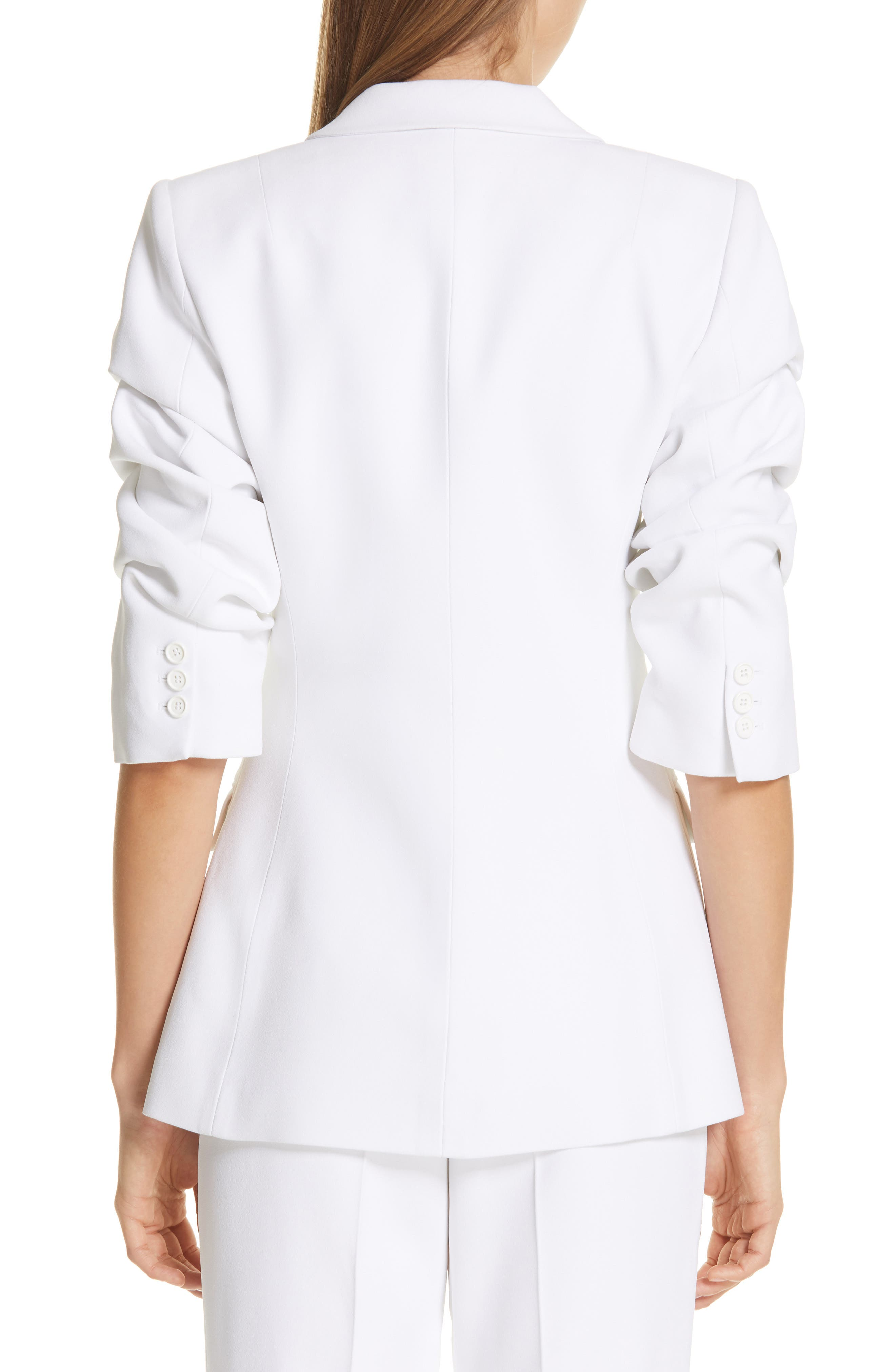 ,                             Ruched Sleeve Blazer,                             Alternate thumbnail 2, color,                             OPTIC WHITE