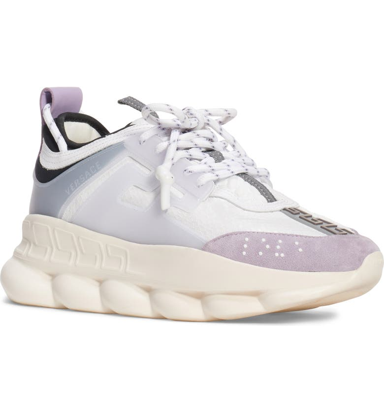 VERSACE Chain Reaction Sneaker, Main, color, WHITE/ LILAC