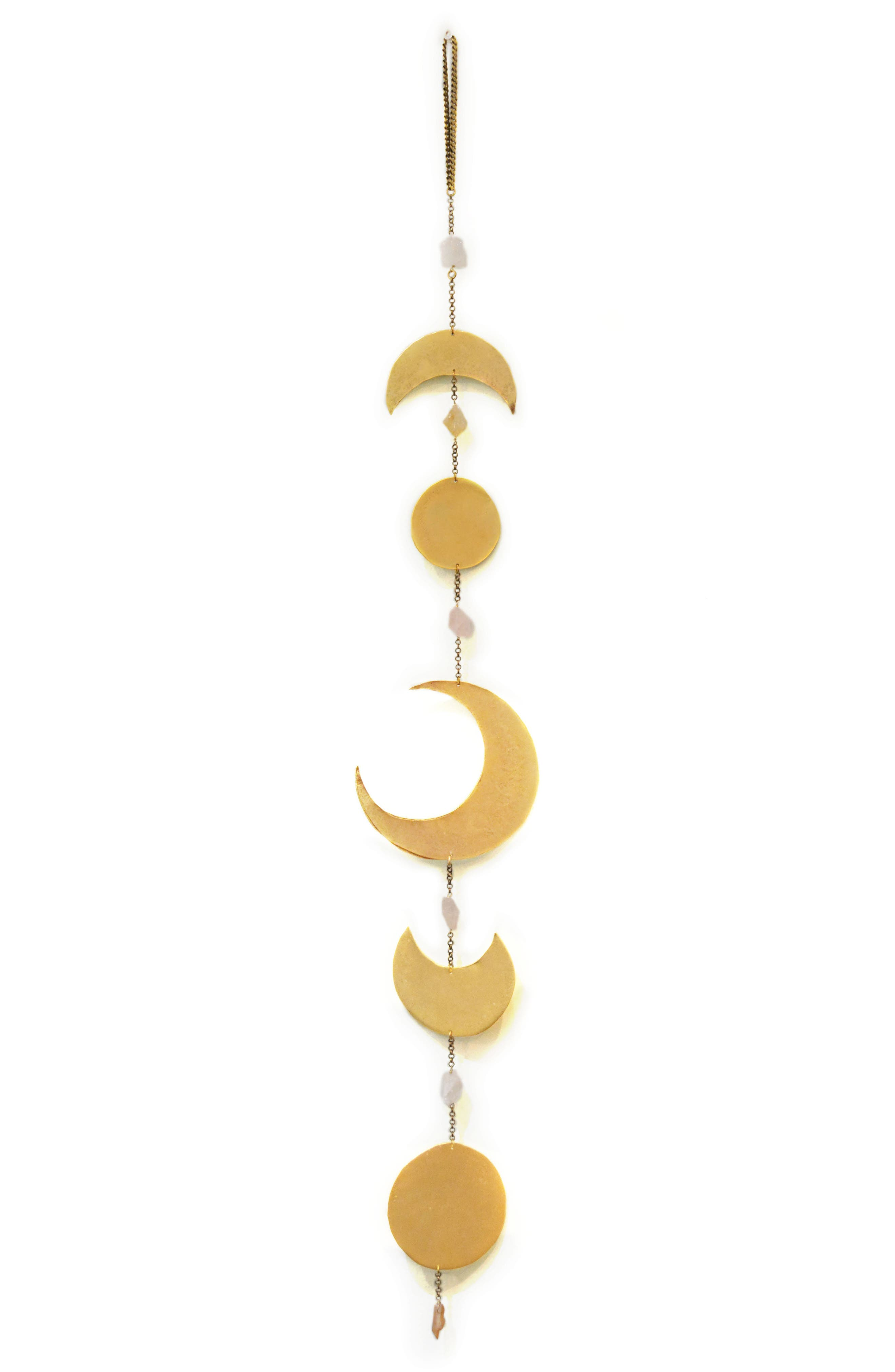 A celestially graceful wall hanging suspends brushed-metal cuts of the moon\\\'s phases, interspersed with milky quartz crystals and tipped with a rosy citrine. Style Name: Ariana Ost Moon Phase Quartz & Citrine Wall Hanging. Style Number: 5747773. Available in stores.